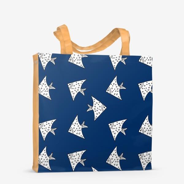 Сумка-шоппер «Рыбы на синем фоне»