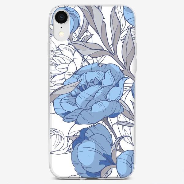 Чехол iPhone «Пионы Гжель»