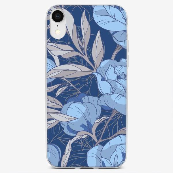 Чехол iPhone «Голубые пионы»