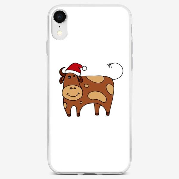 Чехол iPhone «Новогодняя корова. Символ года. Год быка. Подарок»