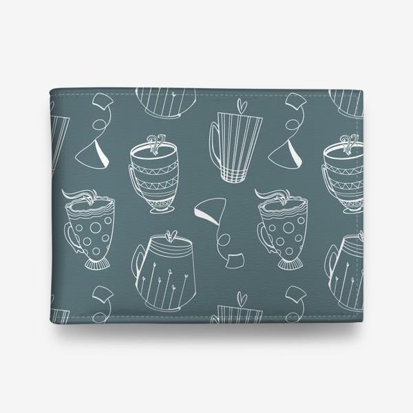 Кошелек «Чайные чашки и сердечки на темном мятном»