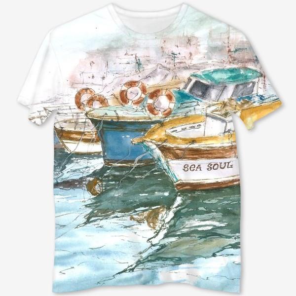 Футболка с полной запечаткой «Морская серия: Лодки»
