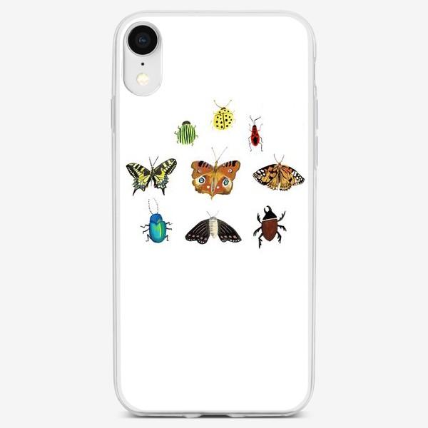 Чехол iPhone «Жуки и бабочки»