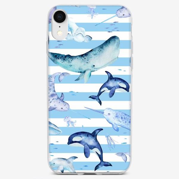 Чехол iPhone «Киты в полосатом море»