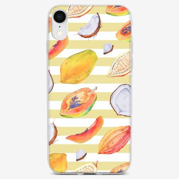 Чехол iPhone «Тропические фрукты и орехи. Акварель»