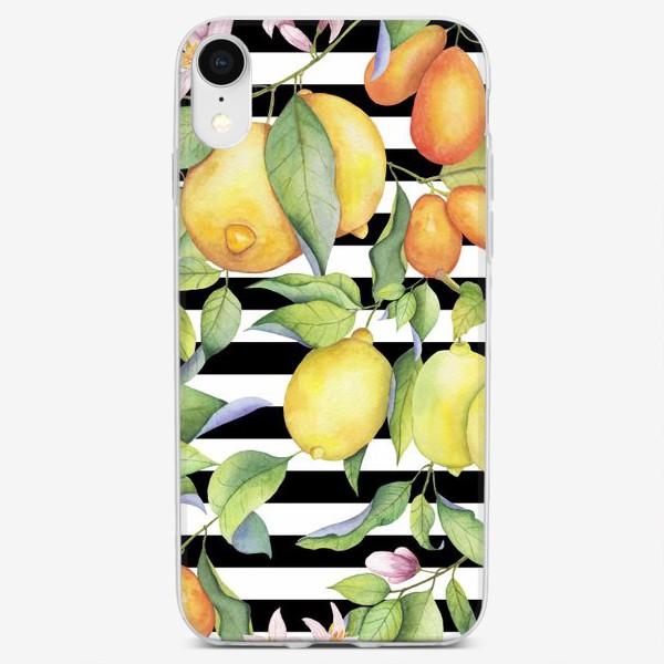 Чехол iPhone «Лимоны и кумкваты на полосатом фоне»