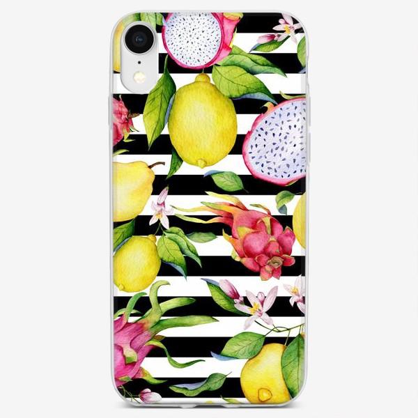 Чехол iPhone «Лимоны, драгонфруты и айва. Акварельные фрукты»