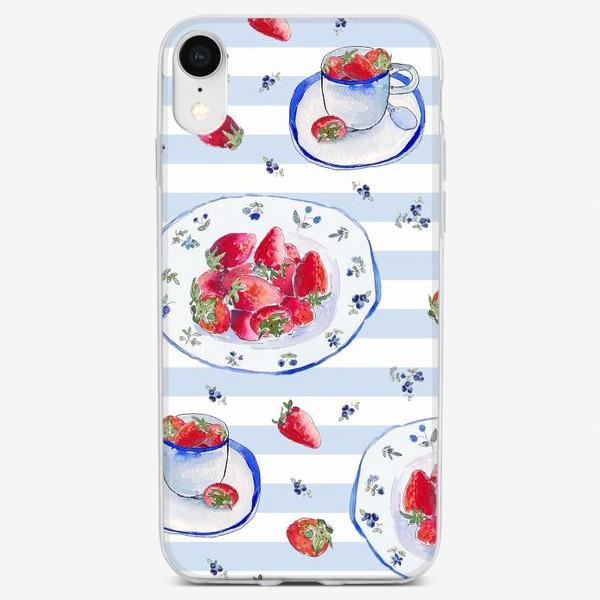 Чехол iPhone «Акварельное чаепитие: клубника и полоски»