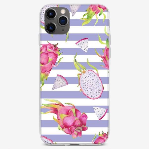 Чехол iPhone «Драгонфруты и полоски. Акварельные фрукты»
