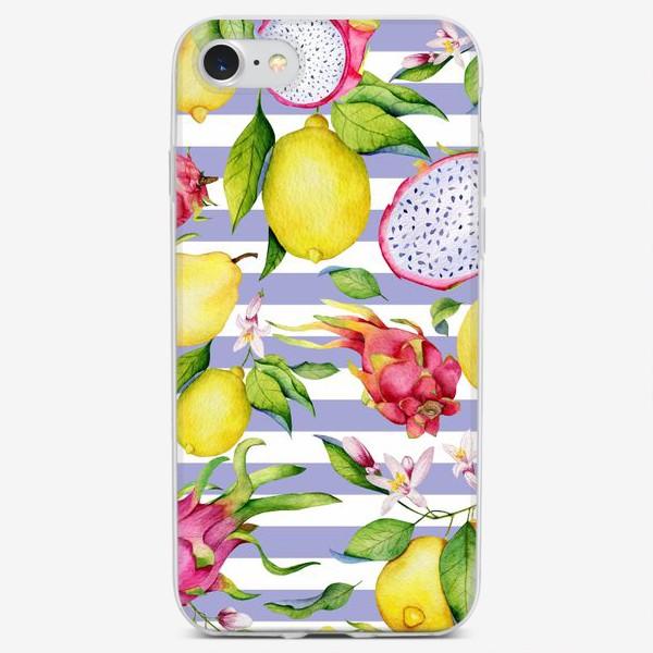 Чехол iPhone «Тропические фрукты: лимоны, драгонфруты и айва акварелью»