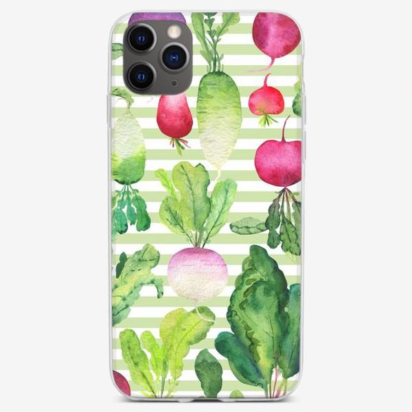 Чехол iPhone «Редис и редька: акварельные корешки»