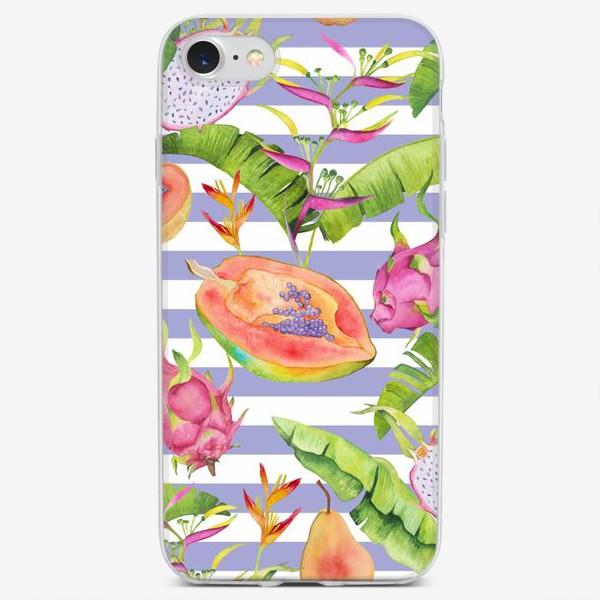 Чехол iPhone «Акварельные тропики: фрукты, листья и цветы»