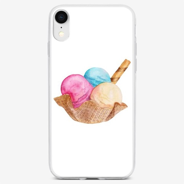 Чехол iPhone «Sweet dessert, ice cream in a waffle.»