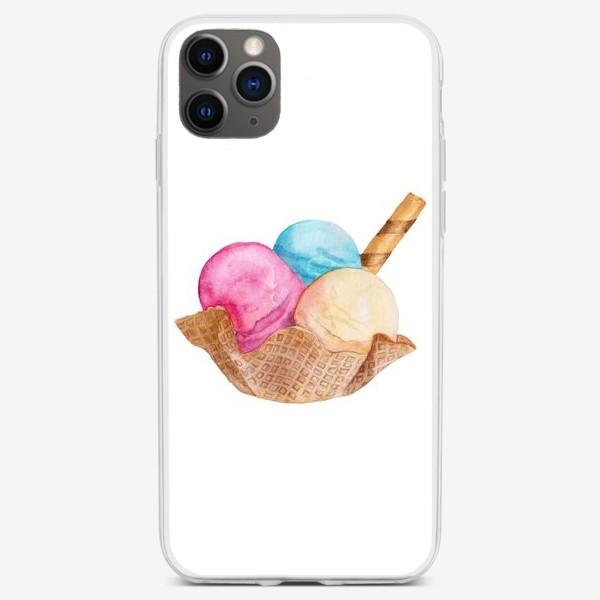Чехол iPhone «Sweet dessert, ice cream in a waffle.»