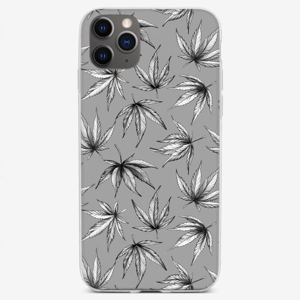 Чехол iPhone «Монохромный узор листьев на сером фоне»
