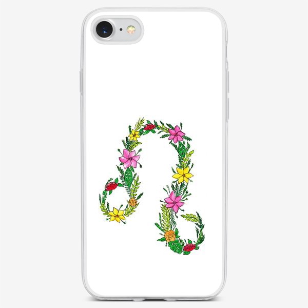 Чехол iPhone «Зодиак лев. Цветы»