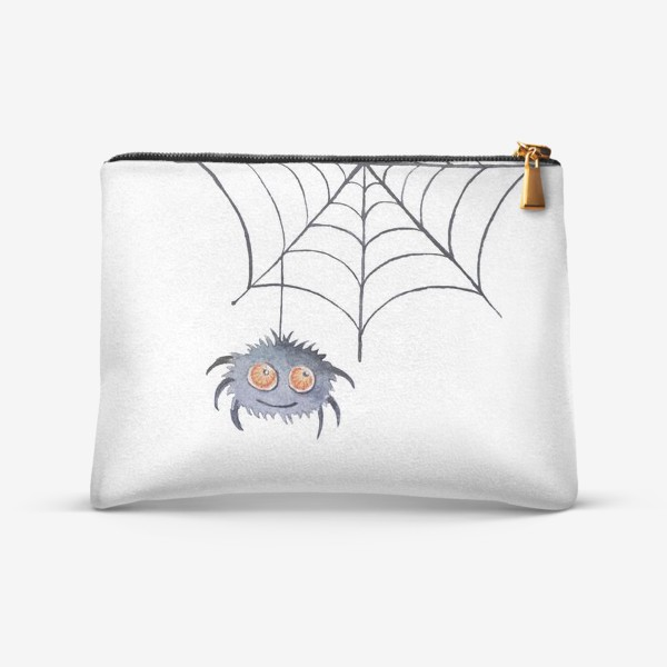 Косметичка «Spider web and spider. Watercolor clipart on a white background.»