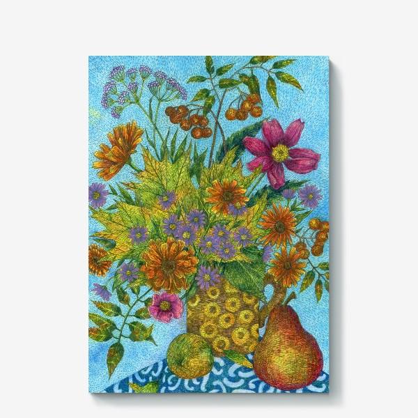 Холст «Яркий букет цветов и листьев»