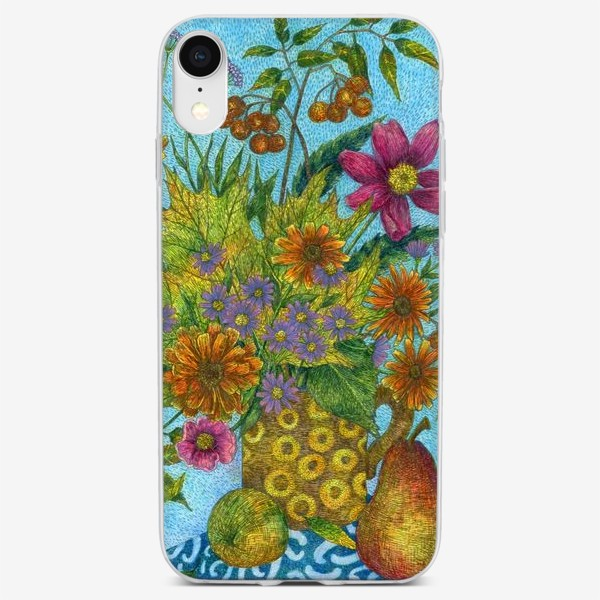 Чехол iPhone «Яркий букет цветов и листьев»