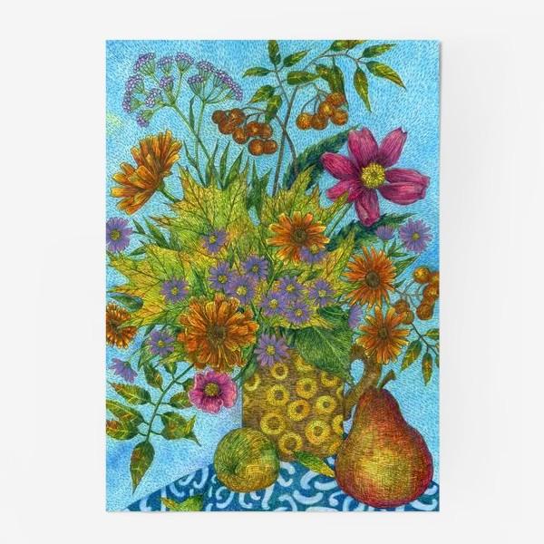 Постер «Яркий букет цветов и листьев»