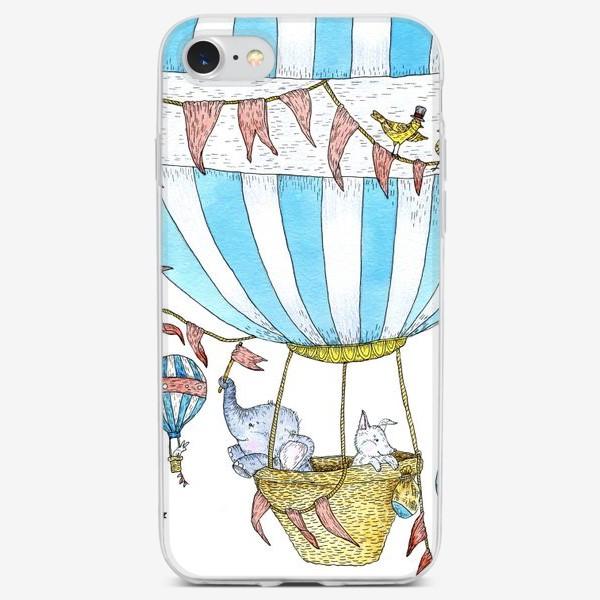Чехол iPhone «Путешествие слонёнка и щенка на воздушном шаре»