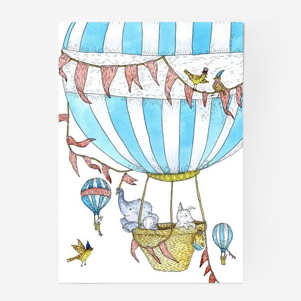 Постер «Путешествие слонёнка и щенка на воздушном шаре»