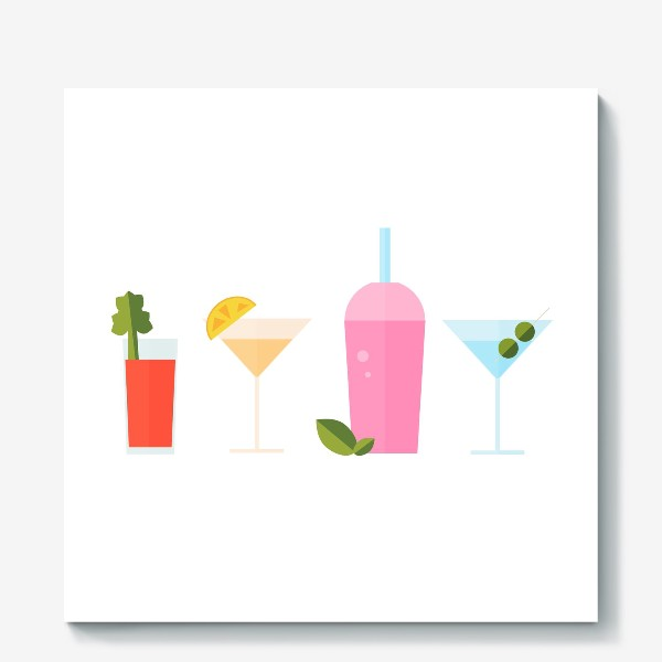 Холст «Летний коктейль сет. Яркие сочные напитки»