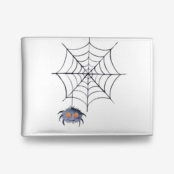 Кошелек «Spider web and spider. Watercolor clipart on a white background.»