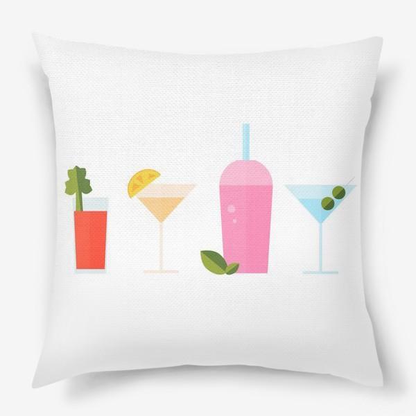 Подушка «Летний коктейль сет. Яркие сочные напитки»