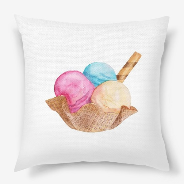 Подушка «Sweet dessert, ice cream in a waffle.»