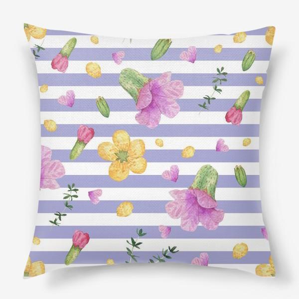 Подушка «Лесные цветы: медуница и лютик»