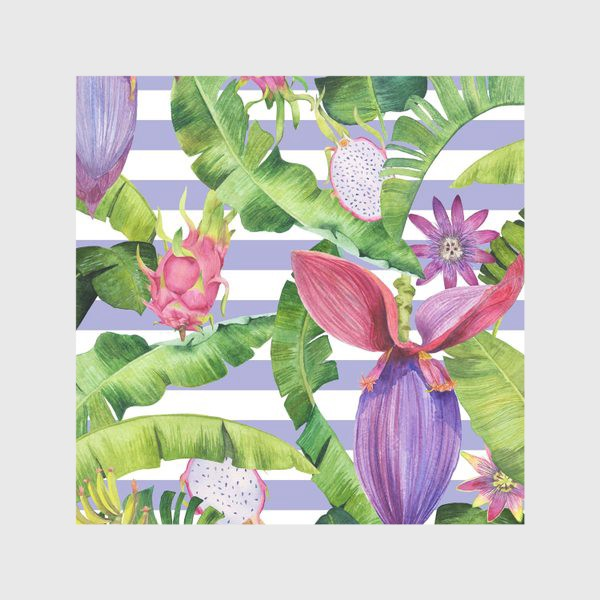 Скатерть «Бананы: листья,цветы и полоски»