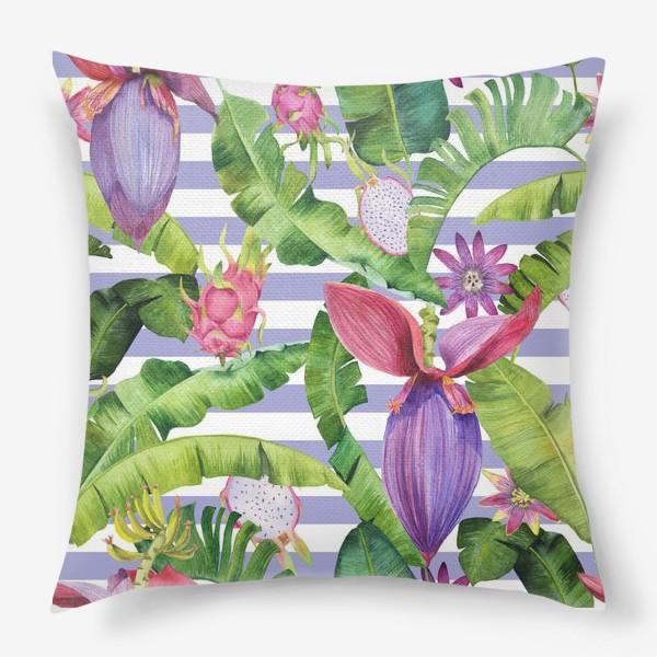 Подушка «Бананы: листья,цветы и полоски»