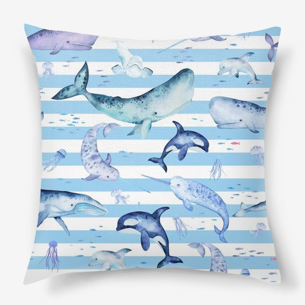 Подушка «Киты в полосатом море»