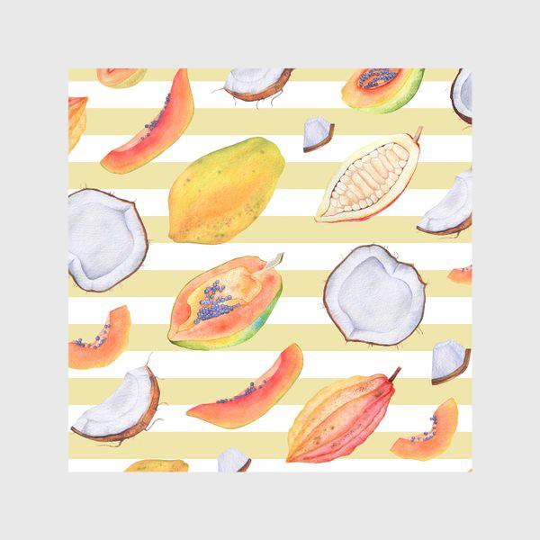 Скатерть «Тропические фрукты и орехи. Акварель»