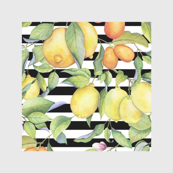 Скатерть «Лимоны и кумкваты на полосатом фоне»