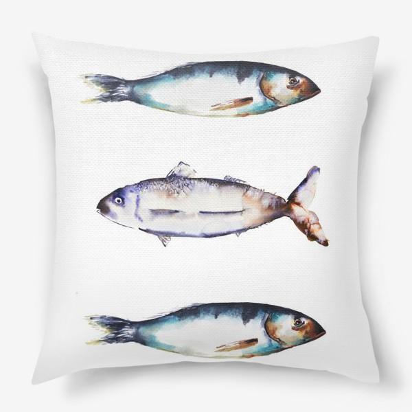 Подушка «Акварельные рыбки»