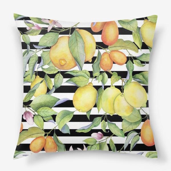 Подушка «Лимоны и кумкваты на полосатом фоне»