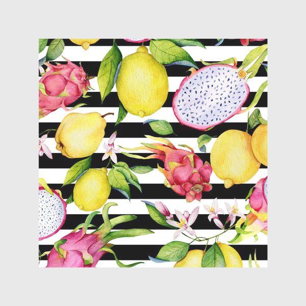 Скатерть «Лимоны, драгонфруты и айва. Акварельные фрукты»