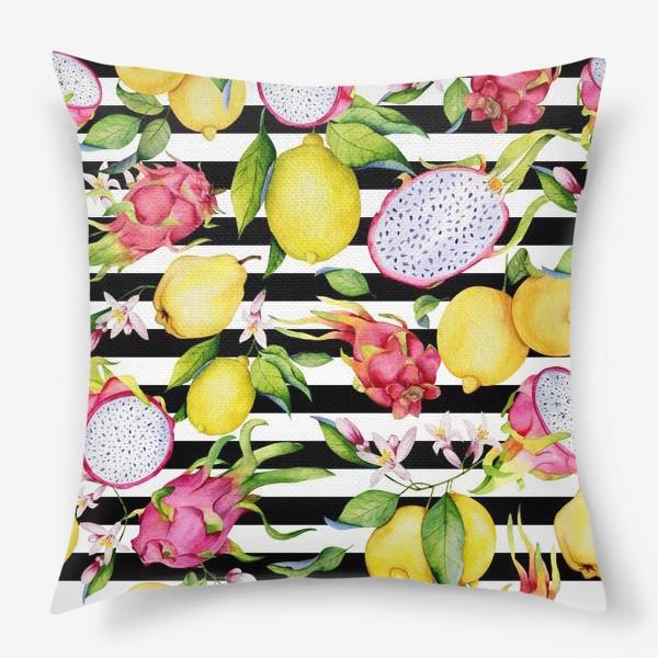 Подушка «Лимоны, драгонфруты и айва. Акварельные фрукты»