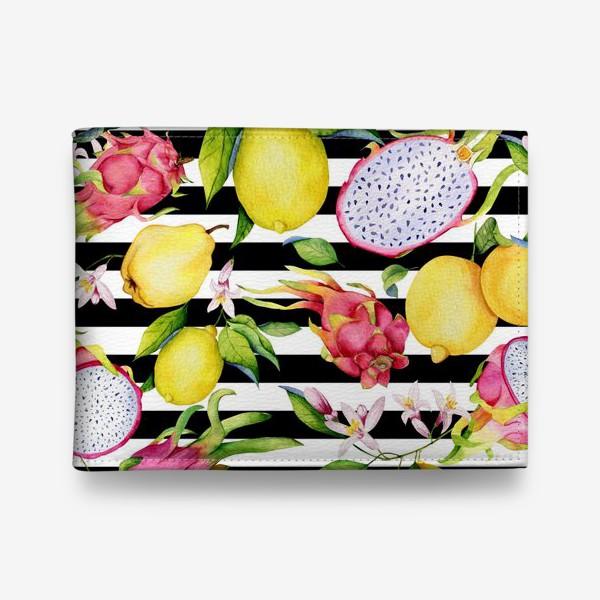 Кошелек «Лимоны, драгонфруты и айва. Акварельные фрукты»