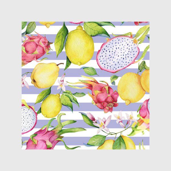 Скатерть «Тропические фрукты: лимоны, драгонфруты и айва акварелью»