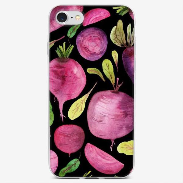 Чехол iPhone «Свеколки акварелью на черном»