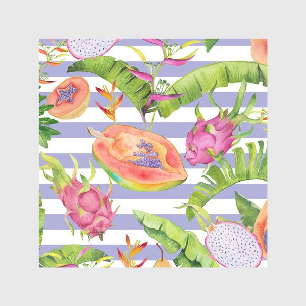 Скатерть «Акварельные тропики: фрукты, листья и цветы»