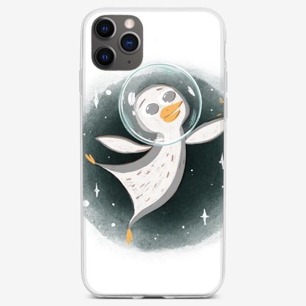 Чехол iPhone «Пингвин космонавт. Минималистичный сканди»