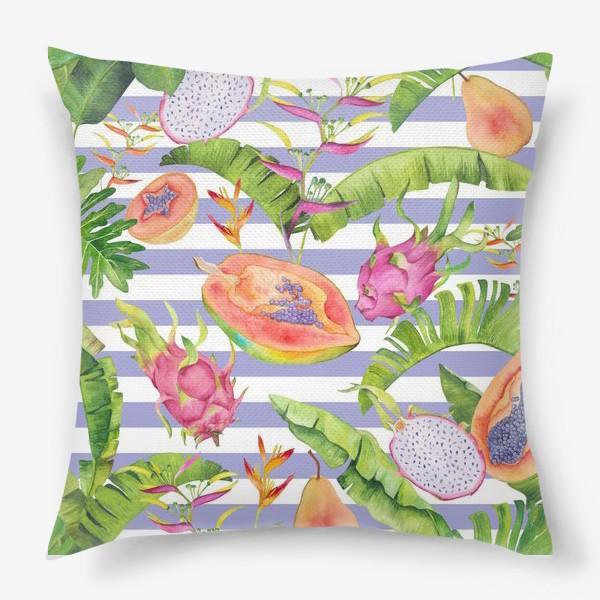 Подушка «Акварельные тропики: фрукты, листья и цветы»