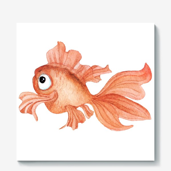 Холст «Watercolor illustration. Goldfish of orange color on a white background»