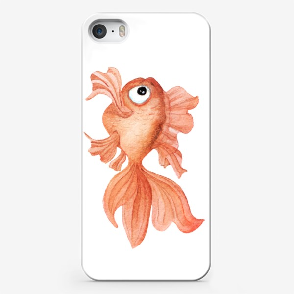 Чехол iPhone «Watercolor illustration. Goldfish of orange color on a white background»