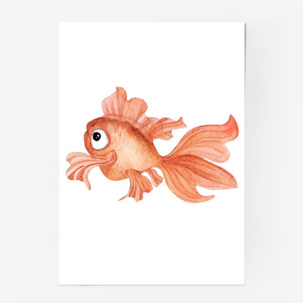 Постер «Watercolor illustration. Goldfish of orange color on a white background»