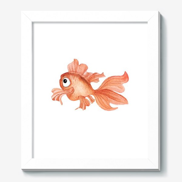 Картина «Watercolor illustration. Goldfish of orange color on a white background»